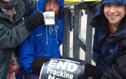 Activists chain themselves to fracking site with bike locks