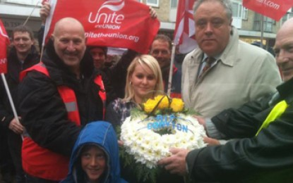 'RIP Coryton' wreath presented at protest