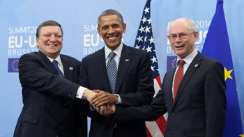 Manuel Barroso, Barack Obama and European Council President Herman Van Rompuy. Image: European Council