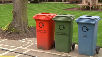 Recycling bins in a garden at Lord's. Image: ELN