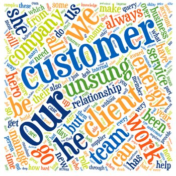Word cloud of common phrases in Unsung Hero TELCA entries.
