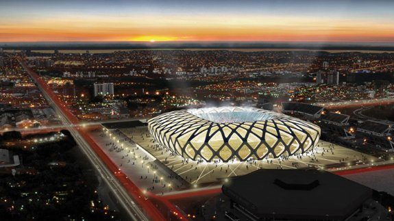 Artist's impression of the Arena Amazonia where England play their first World Cup match against Uruguay on 14 May. Image: FIFA