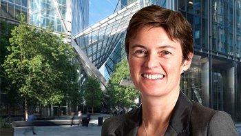 Finance Director Lucinda Bell; 201 Bishopsgate and the Broadgate Tower. Image: British Land