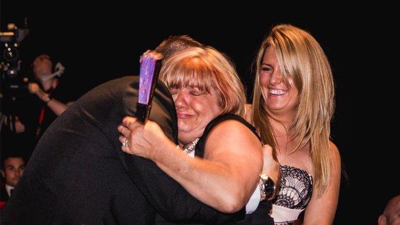 Unsung Hero Lyn Barnes accepts her award on TELCA night. Image: ELN / Ash Garwood