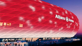 The Allianz Arena is to get 380,000 LED lights which can change colour, it was revealed in May 2014. Image: Philips