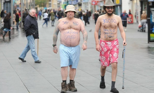 Half naked protest for fuel poverty