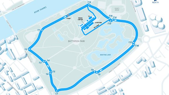 The proposed circuit layout for the London ePrix at Battersea Park. Image: FIA Formula E