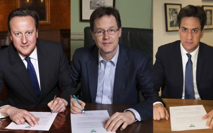 Three's a charm: Cameron, Clegg and Miliband sign climate pledge
