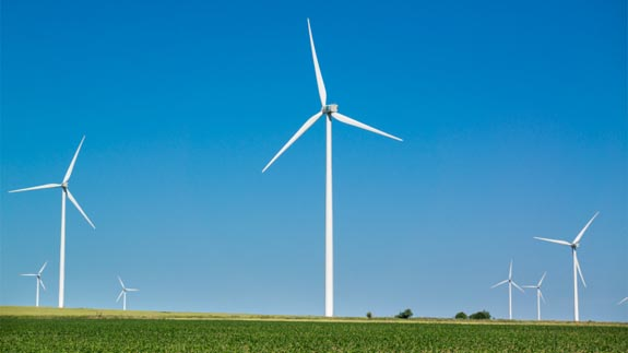 An onshore wind farm Image: Thinkstock