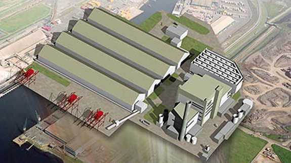 An artist's impression of the biomass plant. Image:  MGT Teesside