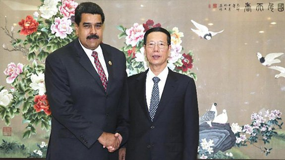 Venezuelan President Nicolas Maduro and Chinese Vice Premier Zhang Gaoli. Image: China Government