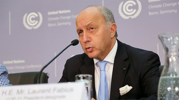 COP21 President Laurent Fabius. Image: UNclimatechange Flickr