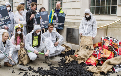 Green group dumps tonne of coal in Westminster