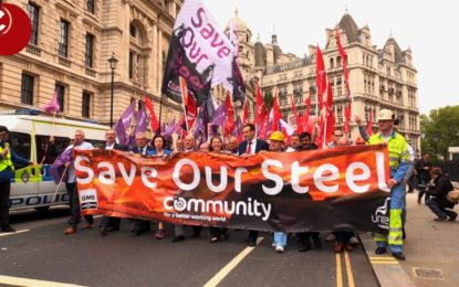 Steelworkers march over future of UK industry