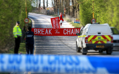 Climate activists blockade fracking supply firm