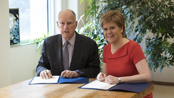 Governor of California Edmund G Brown and Scottish First Minister Nicola Sturgeon. Image: Scottish Government