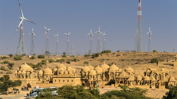A wind farm in the Indian state of Rajasthan. Image: Panoglobe/Shutterstock