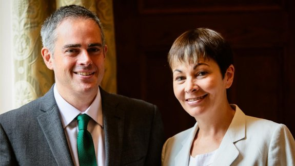 Co-leaders Jonathan Bartley and Caroline Lucas. Image: Green Party