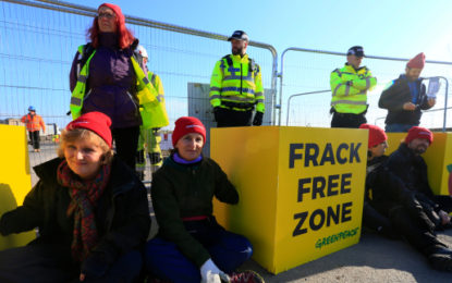 Protesters block access to Lancashire fracking site