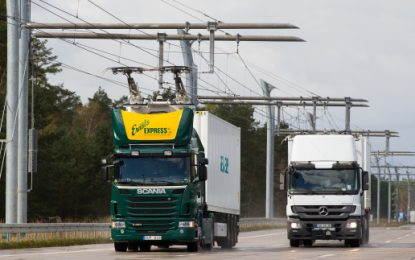 Overhead powerlines for electric trucks?