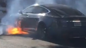 Tesla bursts into flames while driving in Los Angeles