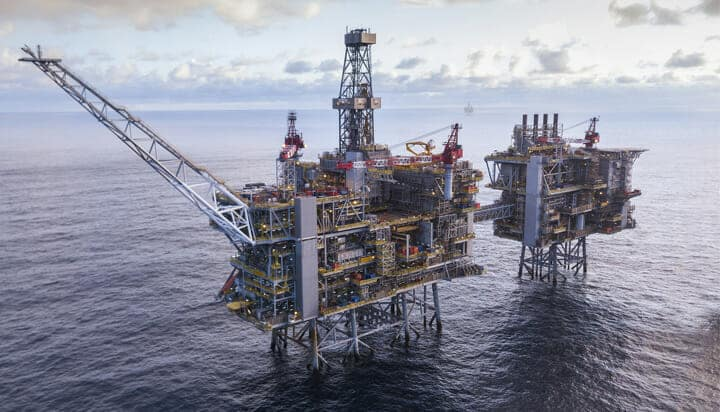Picture of oil and gas platforms in the UK North Sea.
