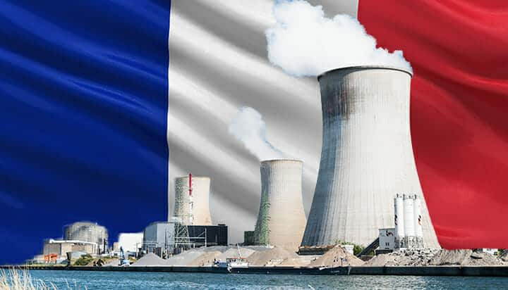 Nuclear power station with French flag background