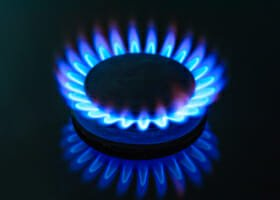A lit gas burner from a cooker.