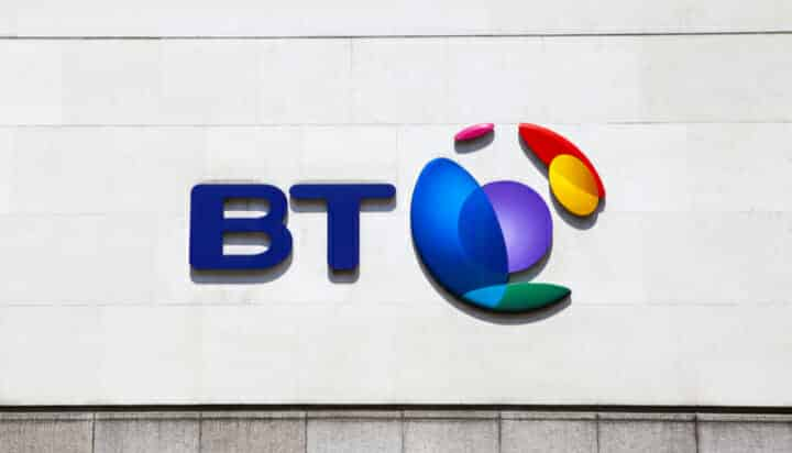 The BT logo on a wall