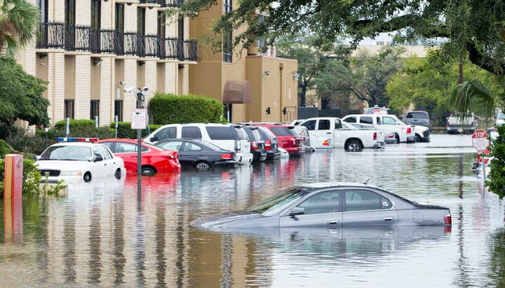 Flooded cars on a US street