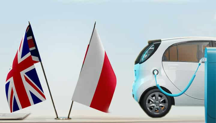 Picture of UK and Polish flags with an electric vehicle being charged.