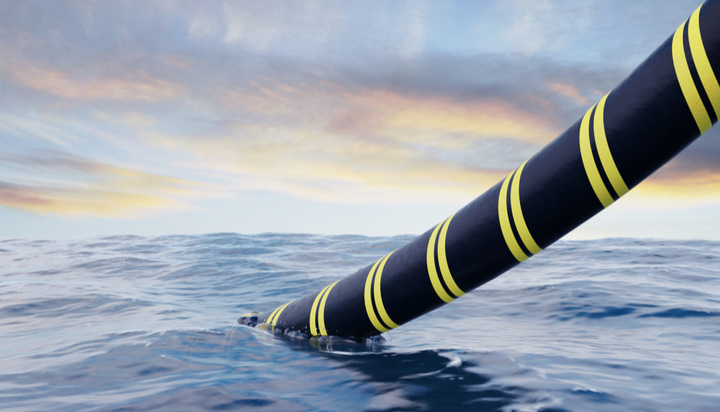 Underwater cable being laid