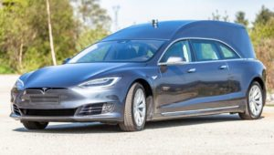 And now for some very grave news… a Tesla hearse to die for