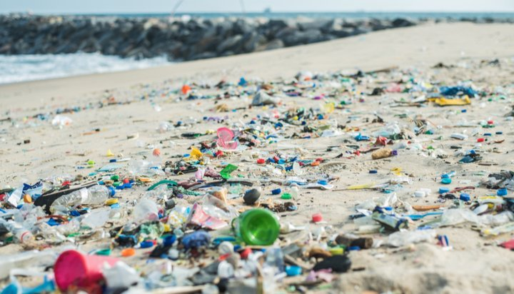 Plastic waste on African beach