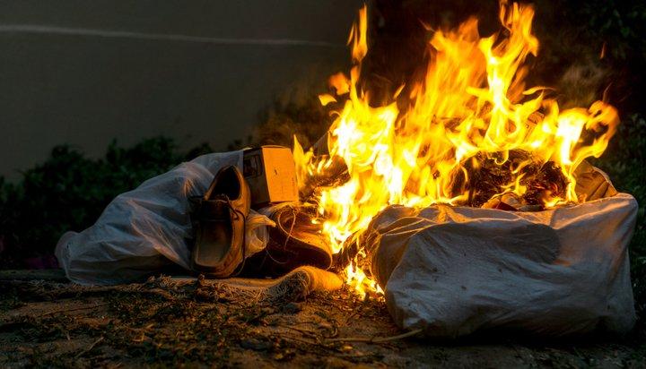 Burning plastic bags