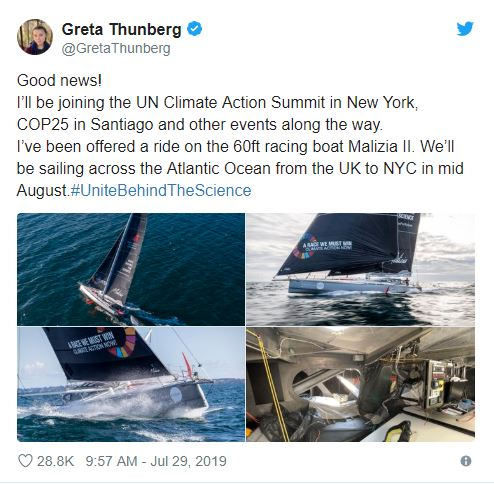 Greta Thunberg to sail across Atlantic for UN climate summit