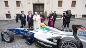 Pope Francis gives electric racing car his holy blessing